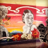 Bravo Negro at the Dolores Del Rio mural in Hollywood.