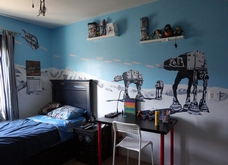 Star Wars Planet Hoth Mural with Imperial Walkers